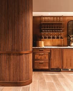 Tambour, wood wall, flexible wood wall panels, SKB Architects