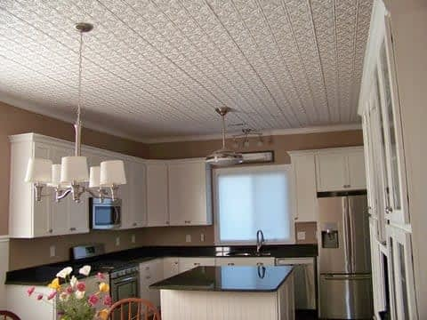 DIY glue up faux tin ceiling tiles