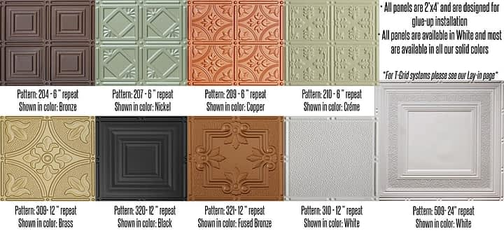 faux tin ceiling tile options