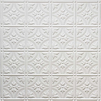 White DIY glue up faux tin ceiling tiles